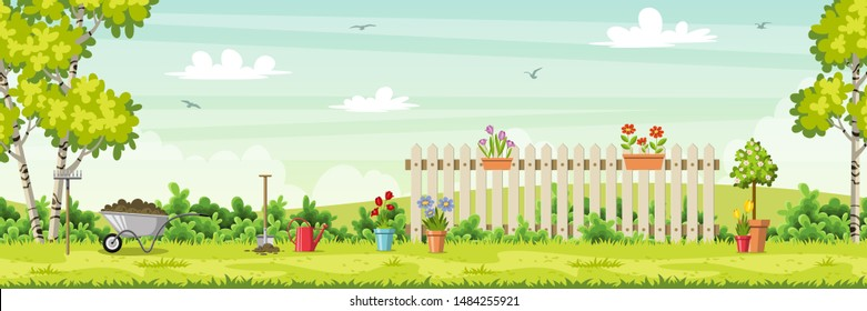 Spring landscape with garden tools, vector illustration