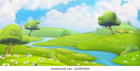Spring landscape. Green meadow with daisies vector illustration