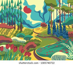 Spring landscape with hills, trees, plants, bushes, pathway and tulips flowers . Beautiful scenery background. Colorful vector illustration