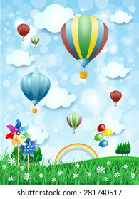 Spring landscape with hot air balloons, vertical version. Vector illustration