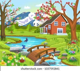 spring landscape illustration in a natural background
