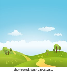 Spring landscape with path through rolling hills vector illustration