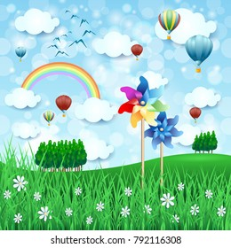 Spring landscape with pinwheels and hot air balloons, vector illustration eps10
