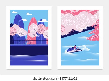 Spring landscape poster design, cherry blossom trees beside the river, pink and blue tones