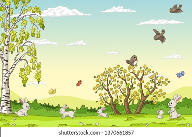 Spring landscape with rabbits. Hand draw vector illustration.