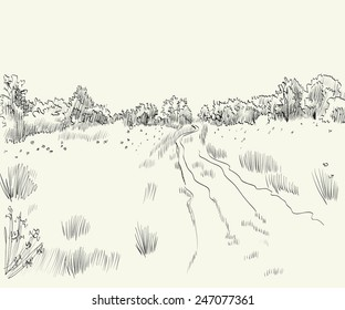 Spring landscape with road. Hand drawn vector illustration.