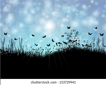 Spring landscape with silhouette of grass, flowers and butterflies