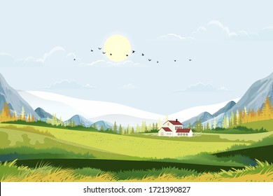 Spring landscape in Sunny day village with meadow on hills with blue sky, Panoramic countryside of green field with farmhouse, mountains and grass flowers,Vector Summer or Spring nature background