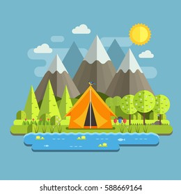 Spring landscape with tourist tent, lake, flowers and blossoming trees. Mountain camping in wilderness outdoor adventure scene. Campsite place in national park area by sunny day at springtime.