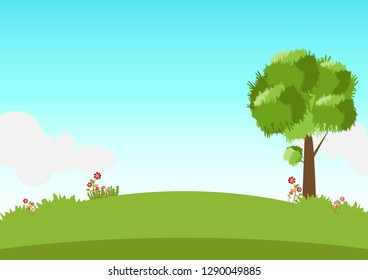 Spring landscape with tree and flower on blue sky background.