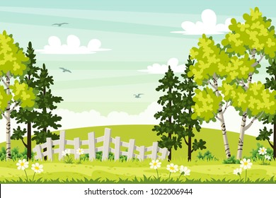 Spring landscape with trees and fence