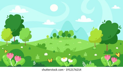 Spring landscape with trees, mountains, fields, flowers. Vector illustration.