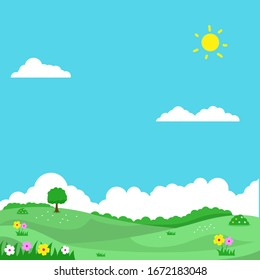Spring landscape vector illustration with flowers, green field and bright sky suitable for background or illustration