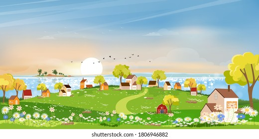 Spring landscape at village by the lake with meadow on hills with blue sky,Panoramic countryside by the sea with green field,farmhouse, barn and grass flowers,Vector Summer or Spring nature background