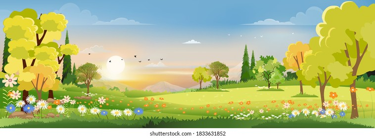 Spring landscape in village with green field and sunset,Vector flat cartoon rural farmland with mountain and forest, pink and blue sky, Natural scene in countryside,Panorama view on sunny day Summer