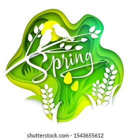 Spring layered paper art style vector illustration. Beautiful seasonal composition with paper cut green grass, yellow tulips, white birds sitting on branch. Spring creative hand lettering typography.