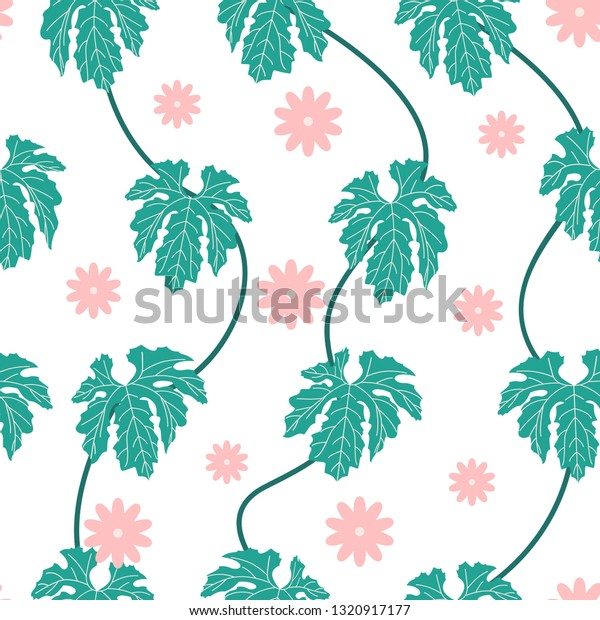 Spring Leaf Seamless Pattern Nature Wallpaper Stock Vector
