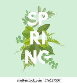 Spring letter with green leaves. Season sale vector label. Foliage lettering. Floral illustration. Springtime poster. For t-shirt, fashion, prints, banner or packaging design