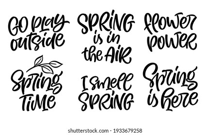 Spring lettering vector illustration. Set of handwritten phrases, quotes and slogans for greeting card, party invitation, prints or social media design. Unique hand drawn calligraphic elements