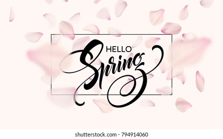 Spring lettering web banner template. Color pink sakura cherry blossom flower blue sky landscape background design. Vector illustration EPS10