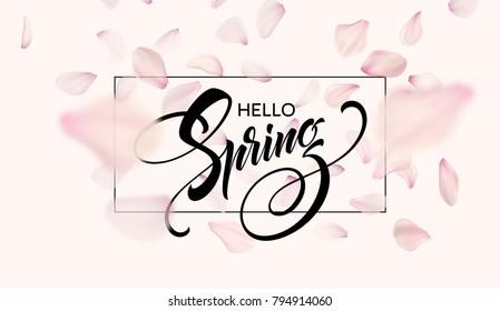 Spring lettering web banner template. Color pink sakura cherry blossom flower blue sky landscape background design. Vector illustration EPS10