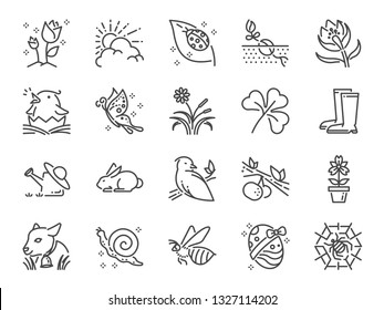 Spring line icon set. Included icons as springtime, season, new born, flower, blooming and more.