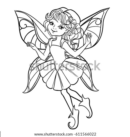 fairy graphic outline coloring pages | Spring Little Fairy Girl Flies Outlined Stock Vector ...