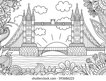Spring in London zendoodle design for adult coloring book page. Stock Vector