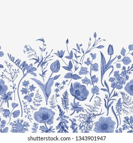 Spring magic. Seamless border. Vector vintage illustration. Blue and white. Toile de Jouy