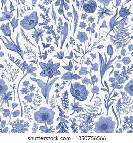 Spring magic. Seamless floral pattern. Blue and white. Toile de Jouy. Vector vintage illustration.