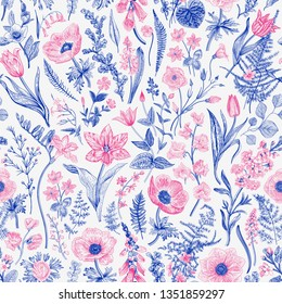 Spring magic. Seamless floral pattern. Blue and pink. Vector vintage illustration.