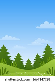 Spring meadow with green grass and wildflowers. Poster with summer landscape, coniferous forest, blue sky with clouds. Simple vector illustration