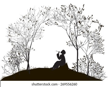 spring melody, boy sitting on the stump between the trees and playing on reed pipe, vector