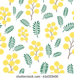 Spring mimosa flowers, seamless vector pattern