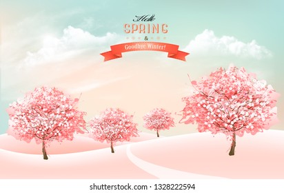Spring nature background with blossom cherry trees and sky with clouds. Vector.