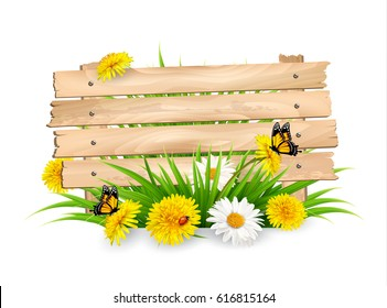 Spring nature background with flowers and a wooden sign. Vector.