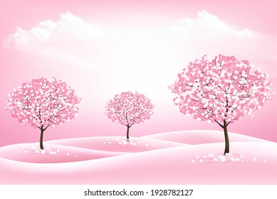 Spring nature background with a pink blooming sakura trees and landscape. Vector.