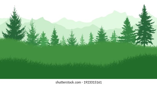 Spring nature, landscape. Green meadow on background of green forest and mountains. Vector illustration.