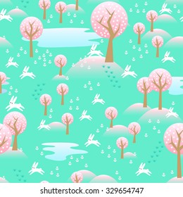 Spring nature seamless pattern background with blooming cherry trees, flowers and bunnies.