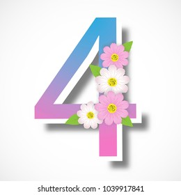 Spring number four with colorful flower ,vector illustration template, banners, Wallpaper, vintage.