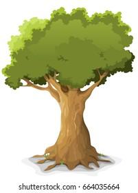 Spring Oak Tree/ Illustration of a cartoon big oak tree in spring or summer season