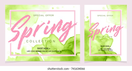 Spring offer collection background with green watercolor splash. Vector illustration template banners posters. Voucher discount.