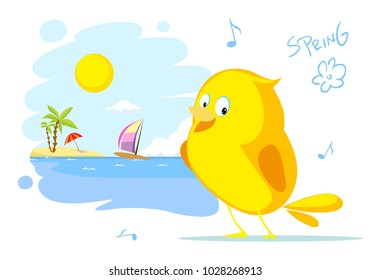 spring on the beach bird singing vector illustration flat design