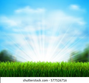 Spring on the fresh green glade with grass. Season background with blue sky, sunshine and white fluffy clouds.