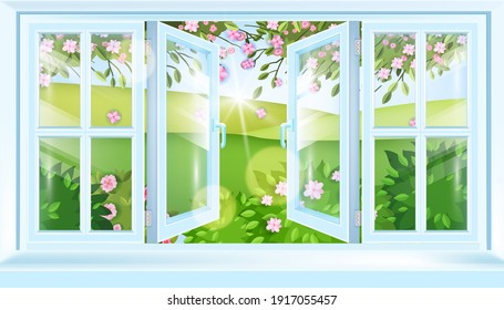 Spring open house window frame vector view, green summer blossom landscape, hills, flowers, sakura branches. Fresh air illustration, blooming bushes, sill, glass. Open window nature countryside scene