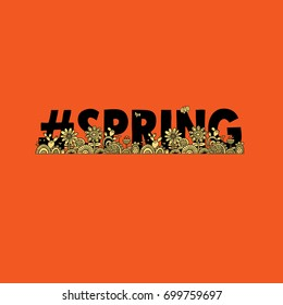 #spring orange vector illustration with the word hash tag spring, flowers, cactus, swirls, leaves,