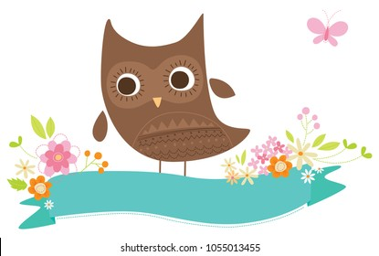 Spring Owl on banner vector illustration