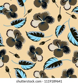Spring paper with abstract cute hibiscus flowers in green, beige and gray colors. Floral seamless pattern. Vector illustration.