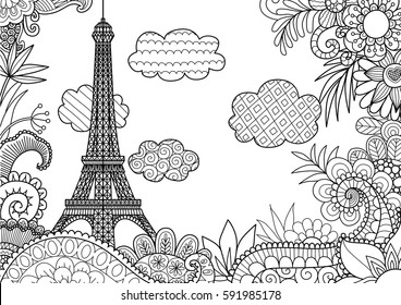 Spring in Paris for coloring page. Stock vector