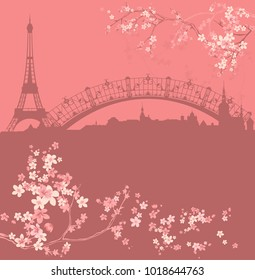 spring Paris vector background - eiffel tower and city skyline among blooming flowers